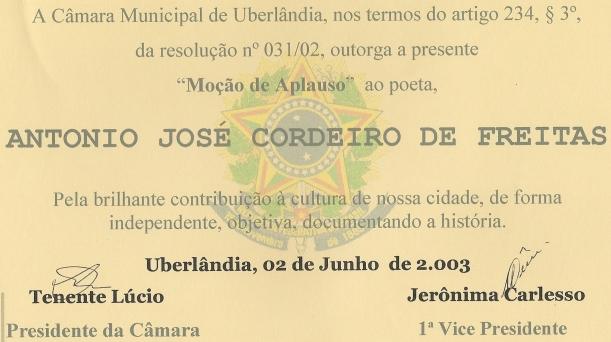 MOÇÃO DE APLAUSO ao poeta.